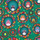 Owl  circle seamless pattern Royalty Free Stock Photo