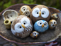 Owl Clay Handicrafts Royalty Free Stock Photography