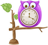 Owl clock. Illustration of isolated owl clock on white Royalty Free Illustration