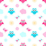 Owl Cloud Seamless Pattern Royalty Free Stock Photo
