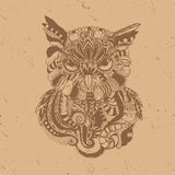Owl in coffee style. Beautiful  background with detailed owl in coffee style Stock Images