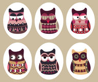 Owl collection. Vector illustration of birds collection including cute owls, funny birds cartoon character Stock Photos