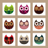 Owl collection. Vector illustration of birds collection including cute owls, funny birds cartoon character Stock Photography