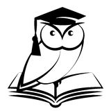 Owl with college hat and book. Symbol of wisdom isolated on white background Royalty Free Stock Photo