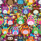 Owl color celebrate firework seamless. This illustration is drawing owl color with celebrate firework in colorful and seamless pattern Royalty Free Stock Photos