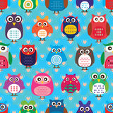 Owl color cloud love seamless Stock Photos