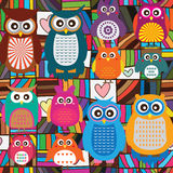 Owl color colorful line seamless Royalty Free Stock Photos