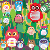 Owl color jungle natural seamless Royalty Free Stock Photo