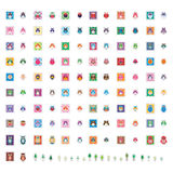 Owl color square sticker set Royalty Free Stock Image