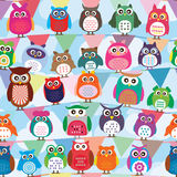 Owl color stand flag seamless. This illustration is drawing owl colorful stand at colorful flag and horizontal in seamless pattern with blue cloud and sky color Stock Image