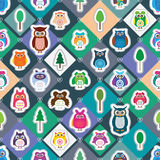 Owl color sticker diamond stick seamless. This illustration is design owl sticker stick at diamond shape background and seamless pattern Royalty Free Stock Photo