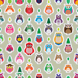Owl color sticker symmetry vertical seamless Royalty Free Stock Photography