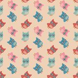 Owl Colorful Seamless Pattern Royalty Free Stock Photography