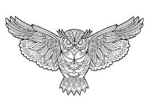 Owl coloring book for adults vector Stock Photos