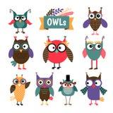 Owl coloured icons set Royalty Free Stock Photos