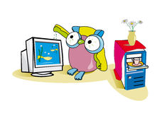 Owl and computer Royalty Free Stock Image