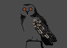 Owl consisting of letters. Vector night black owl consisting of letters Royalty Free Stock Photos