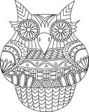 Owl contour vector image. Stripes tribal pattern. Cartoon style bird for coloring book and other. Owl contour vector image. Stripes tribal pattern. Cartoon vector illustration