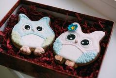 Owl Cookies le jour du ` s de Valentine Image libre de droits