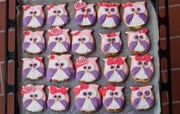 Owl cookies. Twenty owl cookies for children stock images