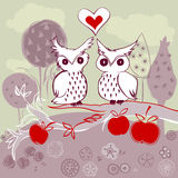 Owl couple on apple tree. Doodle owl couple in love sitting on an apple tree in a beautiful garden Stock Photos