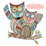 Owl Couple Doodle Vector illustration stock