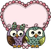 Owl couple in love with big heart. Scalable vectorial representing a owl couple in love with big heart, illustration isolated on white background royalty free illustration