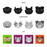 Owl, cow, wolf, dog. Animal`s muzzle set collection icons in black, flat, monochrome style vector symbol stock. Illustration Stock Image