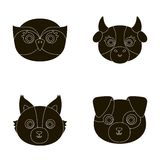Owl, cow, wolf, dog. Animal`s muzzle set collection icons in black style vector symbol stock illustration web. Royalty Free Stock Image