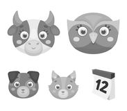 Owl, cow, wolf, dog. Animal`s muzzle set collection icons in monochrome style vector symbol stock illustration web. Owl, cow, wolf, dog. Animal`s muzzle set Stock Photos