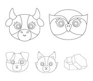 Owl, cow, wolf, dog. Animal`s muzzle set collection icons in outline style vector symbol stock illustration web. Owl, cow, wolf, dog. Animal`s muzzle set Royalty Free Stock Photography