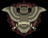 Owl Crest. Fully editable vector illustration of owl crest isolated on black background, image suitable for crest, emblem, insignia, coat of arms or t-shirt Royalty Free Stock Photos