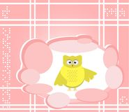 Owl cute Cartoon bird greeting card Royalty Free Stock Photo