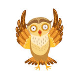 Owl Cute Cartoon Character Emoji asustado con Forest Bird Showing Human Emotions y comportamiento Fotografía de archivo