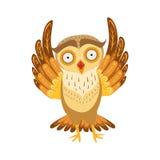 Owl Cute Cartoon Character Emoji spaventato con Forest Bird Showing Human Emotions e comportamento Fotografia Stock