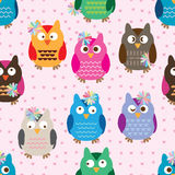 Owl cute color decoration colorful seamless pattern Stock Photo