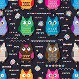 Owl cute color seamless pattern Stock Photo