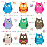 Owl cute color set. This illustration is design and drawing colorful cute owl in set with decoration in isolated object on white color background Royalty Free Stock Photography