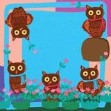 Owl cute frame decor flower Stock Photo