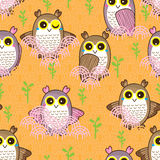 Owl cute seamless pattern. Illustration green plant cute owls bird seamless pattern orange pink background fence Stock Photo