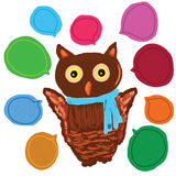 Owl cute speech decor Stock Photos