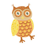 Owl Cute Toy Animal With Detailed Elements Part Of Fauna Collection Of Childish Vector Stickers. Adorable Girly Friendly Zoo Cartoon Character Flat Vector Royalty Free Stock Photos