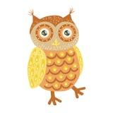 Owl Cute Toy Animal With Gedetailleerd Elementendeel van Faunainzameling van Kinderachtige Vectorstickers Royalty-vrije Stock Foto's