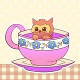 Owl Cute weinig grappige illustratie van het kawaii dierlijke huisdier in een van het de kopbeeldverhaal van de theekoffie vector Stock Foto