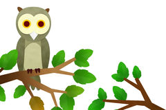 Owl Cutting Paste on Tree Royalty Free Stock Image
