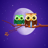 Owl dad on branches. Illustration of owl dad on branches Royalty Free Stock Photo