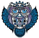 Owl.Decorative bird. Decorative tattoo owl on white Royalty Free Stock Photo