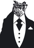 Owl in dinner jacket. Illustration of owl with glasses wearing black and white dinner jacket Royalty Free Stock Photography