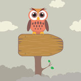 Owl on Direction Sign. High detail illustration of cute owl on direction sign Stock Image