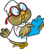 Owl-doctor. In the illustration cartoon owl doctor in a white coat and glasses. She wrote a history of disease Royalty Free Stock Photography